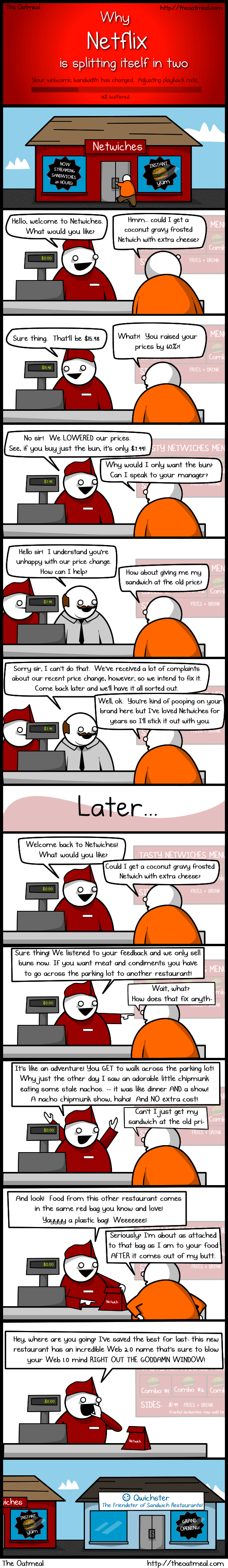 Why Netflix is Splitting Itself In Two: A Cartoon by The Oatmeal