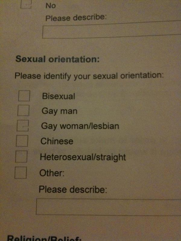 Please identify your sexual orientation: Bisexual, Gay Man, Gay Woman/Lesbian, Chinese, Heterosexual/Straight, Other