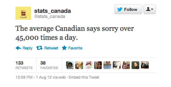 The average Canadian says sorry over 45,000 times a day.