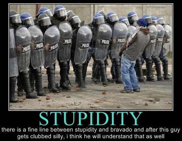 Stupidity: There is a fine line between stupidity and bravado