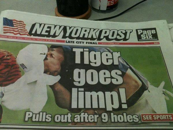 Tiger goes limp! Pulls out after 9 holes.