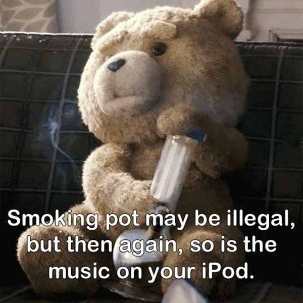 Ted: Smoking pot may be illegal, but then again, so is the music on your iPod.