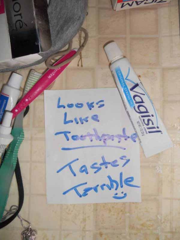 Vagisil: Looks like Toothpaste.  Tastes Terrible.