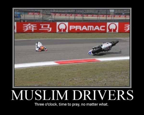 Muslim Drivers: Three o'clock, time to pray. No matter what.