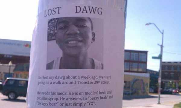 """Lost Dawg: So I lost my dawg about a week ago, we were going on a walk around Troost & 39th street.  He needs his meds. He is on medical herb and codeine syrup. He answers to """"bezzy brah"""" and """"Swaggy bear"""" or just simply """"YO""""."""