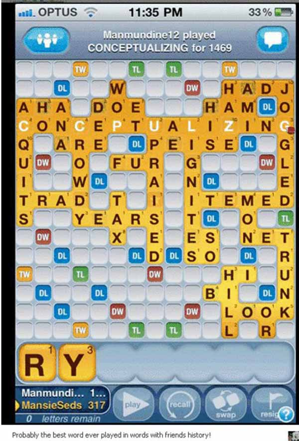 Probably the Best Game of Words With Friends ever played...