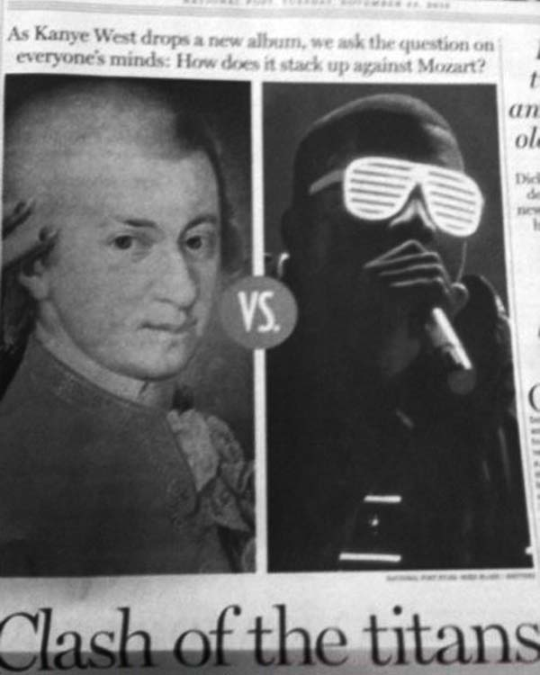 As Kanye West drops a new album, we ask the question that's on everyone's mind: How does it stack up against Mozart?