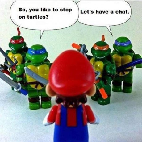 """TMNT @ Mario: """"So, you like to step on turtles? Let's have a chat!"""""""