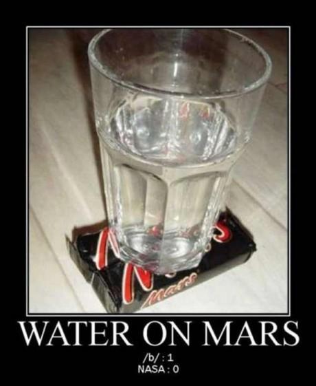 Water on Mars --- /b/: 1  NASA: 0