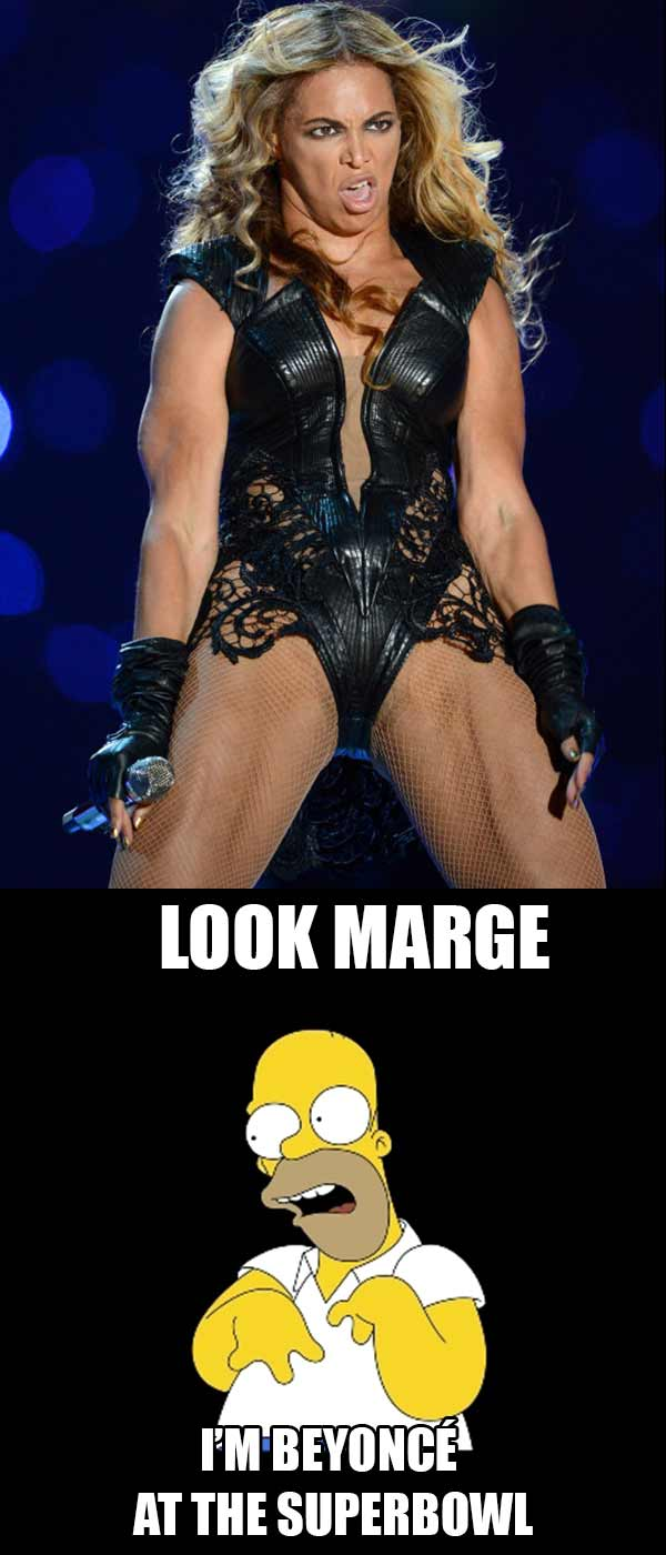 """Homer Simpson: """"Look Marge ... I'm Beyonce at the Superbowl!"""""""