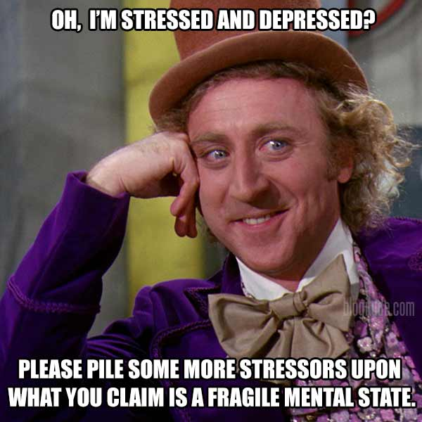 Oh, I'm stressed and depressed? Please pile some more stressors onto what you claim is a fragile mental state!