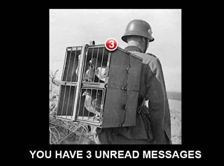 """German Soldier with Carrier Pigeons: """"You have 3 unread messages."""""""