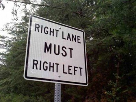 Traffic Sign: Right Lane Must Right Left