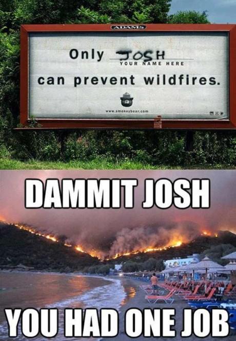 """""""Only ________ ('Your Name Here', 'Josh' painted in grafitti) Can Prevent Wildfires.""""  DAMMIT, JOSH!  You had ONE JOB!"""