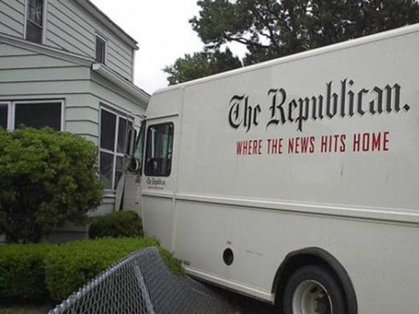 """Newpaper Delivery Irony: """"The Republican: Where the News Hits Home"""""""