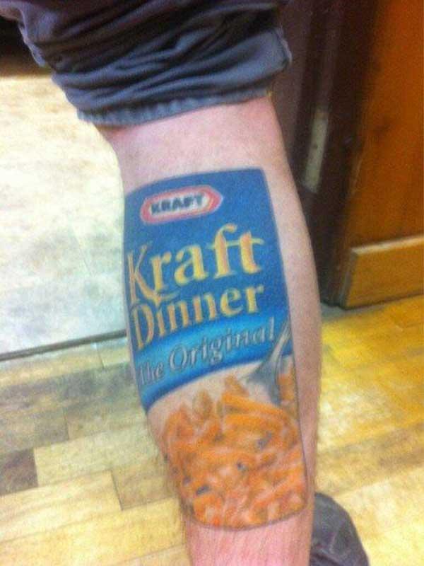 Kraft Dinner, The Origina, Macaroni and Cheese Tattoo.