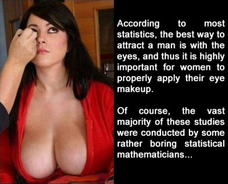 According to most statistics, the best way to attract a man is with the eyes, and thus it is highly important for women to properly apply their eye makeup. Of course, the vast majority of the these studies were conducted by some rather boring statistical mathetmaticians...