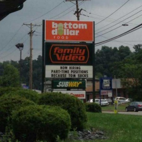 """Family Video: """"Now Hiring Part-Time Positions Because Tom Sucks"""""""