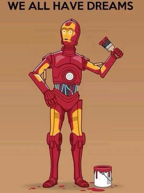 """C3P0 with Iron Man Paint Job: """"We All Have Dreams"""""""