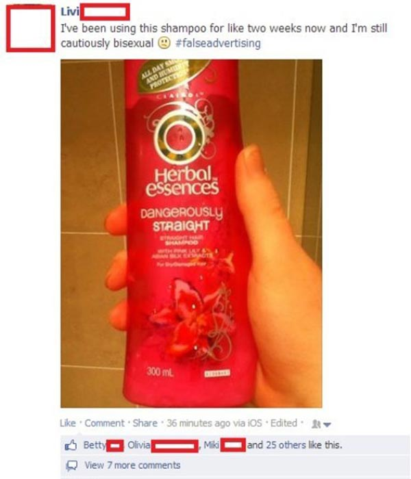 """Herbal Essences """"Dangerously Straight"""" Shampoo Comment from Facebook: """"I've been using this shampoo for like two weeks now and I'm still cautiously bisexual. :( #falseadvertising"""""""