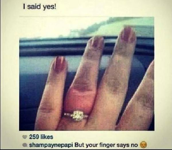 """I said yes!""  Smapaynepapi: ""But your finger says no. :-("""