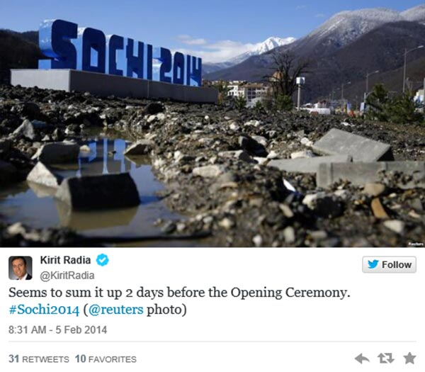 """Twitter @KiritRadia: """"Seems to sum it up 2 days before the Opening Ceremony. #Sochi2013 (@reuters photo)""""  Pic: Construction Debris in front of Sochi 2014 Sign"""