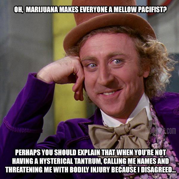 So, Marijuana makes everyone a mellow pacifist? Perhaps you should explain that when you're not having a hysterical tantrum, calling me names and threatening me with bodily injury because I disagreed...