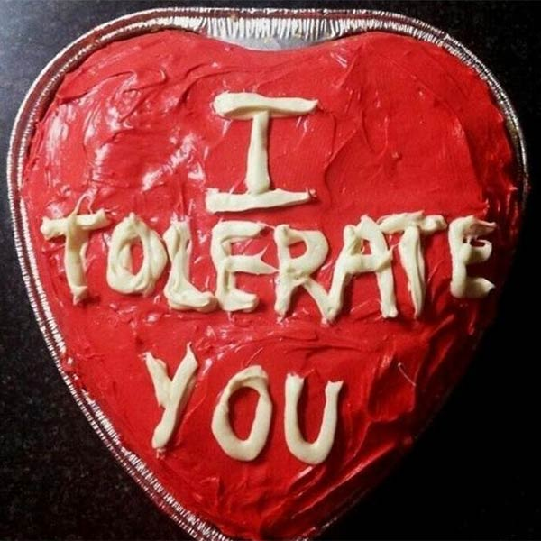 Valentine's Day Cake: I Tolerate You